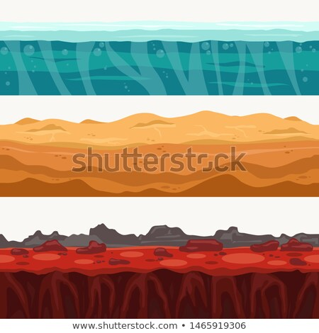 Soil Seamless layers surroundings with Rock stone. Water surface, volcanic lava, desert sand. Vector Stock photo © Andrei_