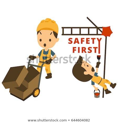 inşaat · sektöründe · kaza · işçi · örnek · tuğla · düşen - stok fotoğraf © tiKkraf69