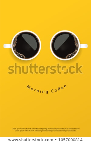 Foto stock: Coffee Cup And Croissant Breakfast Vector Illustration