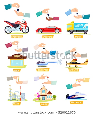 Airplane. Helicopter. Motorboat. Hands Passing Key Stock photo © robuart