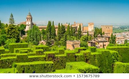 Szökőkút medence kertek zöld Európa gyönyörű Stock fotó © borisb17