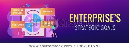 Equilibrado banner mujer de negocios pie rendimiento Foto stock © RAStudio