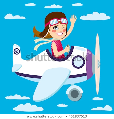 Girl Waving At Airplane  Stock photo © AndreyPopov