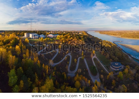 Aerial top vew of winding road in the city Stock photo © olira