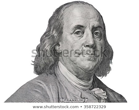 Benjamin Ben Franklin isolated face from 100 dollar banknote with a face mask on covid background Stock photo © olira