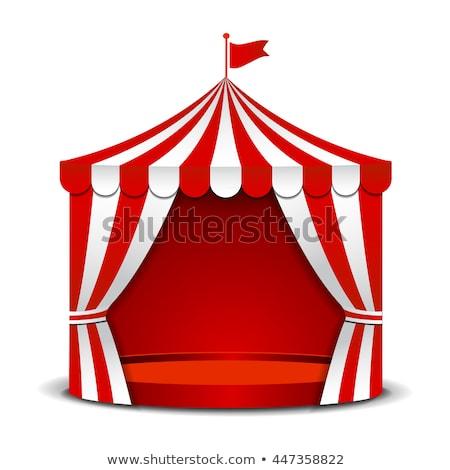 Cyrku namiot czerwony banderą górę wektora Zdjęcia stock © robuart