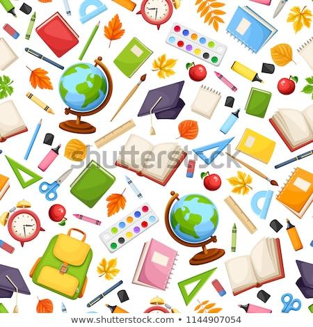 Schreibwaren Vorräte Schule Lehrbuch Schönschreibheft Lesung Stock foto © robuart