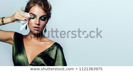 Stock fotó: Gyönyörű · nő · este · smink · elegáns · fekete · ruha · fehér