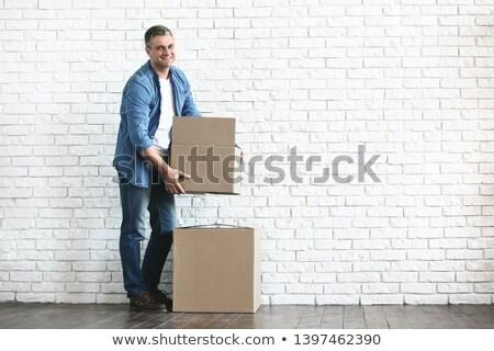 Uomo muro di mattoni ritratto giovani posa mattone Foto d'archivio © zastavkin