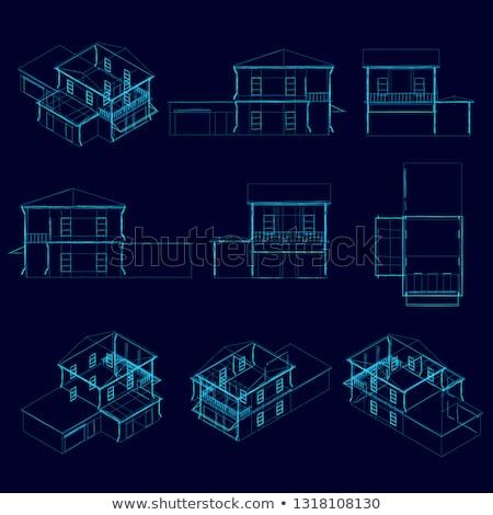 Casa wireframe ilustração branco jardim vermelho Foto stock © pkdinkar