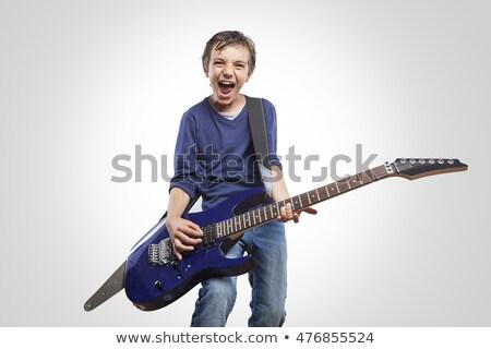 peu · garçon · guitare · isolé · blanche · enfant - photo stock © pekour