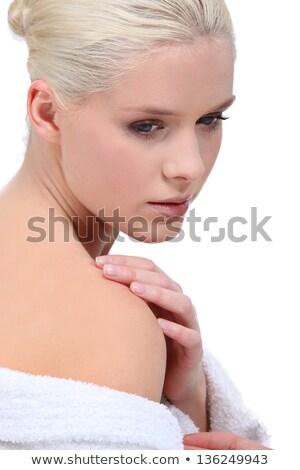 Szőke nő visel köntös mosoly arc Stock fotó © photography33
