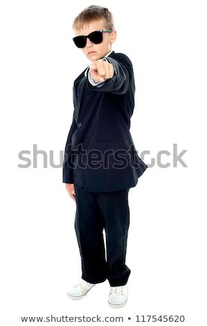 Stok fotoğraf: Küçük · erkek · mavi · takım · elbise · işaret · karanlık