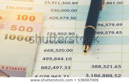 diagrama · caneta · notas · moedas · negócio · dinheiro - foto stock © a2bb5s