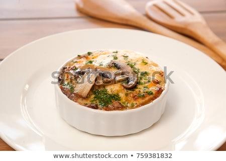 finom · gomba · egyezség · champignon · fából · készült · szalvéta - stock fotó © neirfy