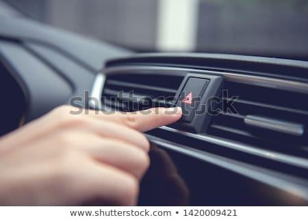 Stockfoto: Waarschuwing · knop · binnenkant · auto · Rood · driehoek