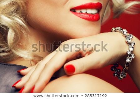 Foto stock: Mulher · batom · vermelho · sensual · moda