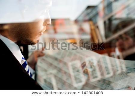 бородатый · молодые · бизнесмен · газета · портфель · бизнеса - Сток-фото © stockyimages