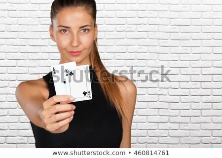 Kız iskambil kartları yalıtılmış beyaz model arka plan Stok fotoğraf © pxhidalgo