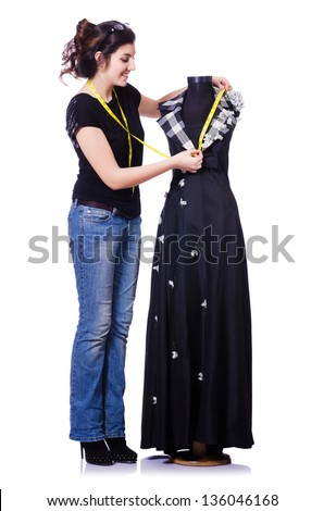 Jóvenes sastre aislado blanco mujer moda Foto stock © Elnur