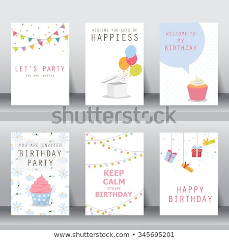 Happy Birthday card with girl and cup cake Stock photo © balasoiu