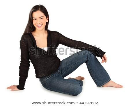 женщину сидят босиком полу красивой Сток-фото © dash