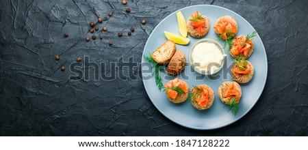 Előétel sült hal ikra pirított fehér kenyér Stock fotó © Makse