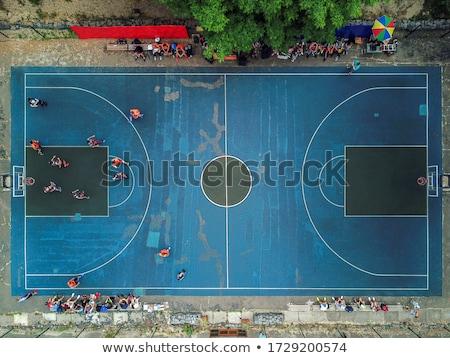 basketbalveld · groene · park · huizen · sport - stockfoto © pixelsaway