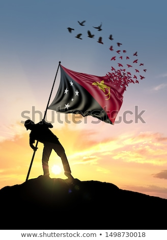 Emberek zászló Pápua Új-Guinea izolált fehér tömeg Stock fotó © MikhailMishchenko