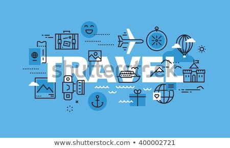 вектора · бумаги · карта · самолет · полет · морем - Сток-фото © davidarts