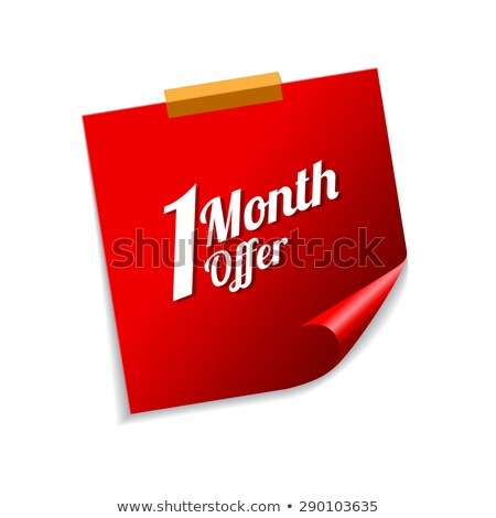 1 Month Offer Red Sticky Notes Vector Icon Design Stock photo © rizwanali3d