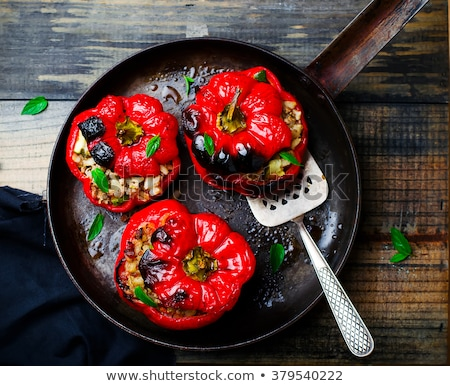 The Sweet Pepper Stuffed With Lamb And Pearl Barley Stok fotoğraf © zoryanchik