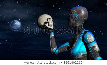 Futuristic Female Android in Deep Space holding human skull Stock photo © ankarb