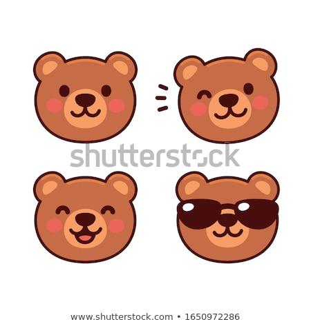 Medve arc érzelem ikon illusztráció felirat Stock fotó © kiddaikiddee