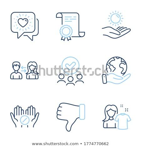 kezek · tart · tabletta · szív · felirat · vonal - stock fotó © rastudio