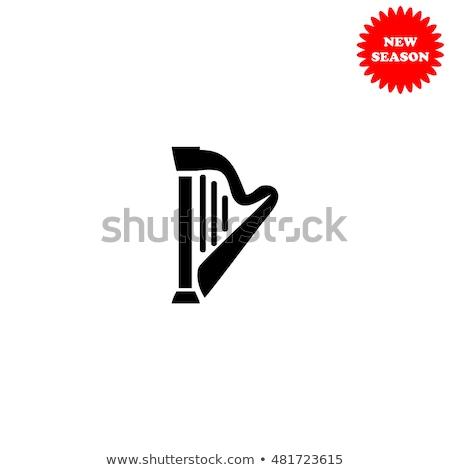 Cartoon арфа икона изолированный белый музыку Сток-фото © cidepix