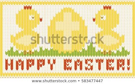 Kellemes húsvétot kötött kártya tojás húsvét háttér Stock fotó © carodi