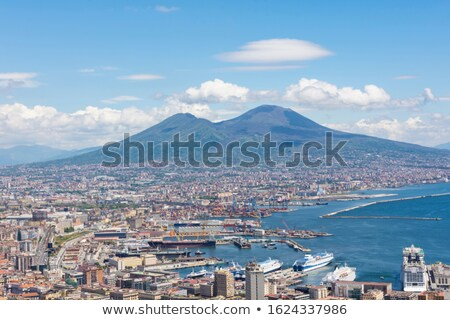 aerial drone view of naples castle and coast italy stock photo © neonshot
