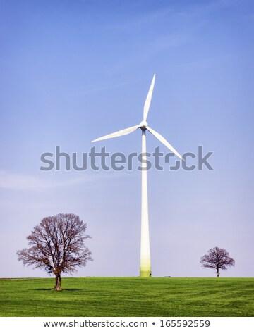 подробность · ветровой · турбины · облака · пейзаж · металл · энергии - Сток-фото © albund