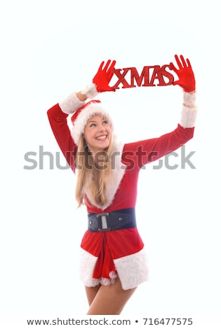 festive smiling woman holding xmas word on white background chr stock photo © lovleah