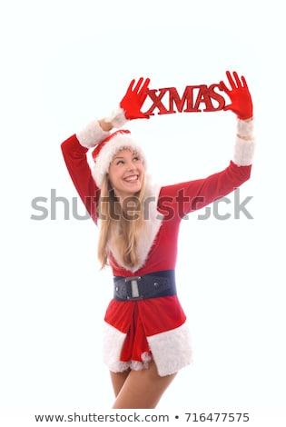 kerstmis · rustiek · brieven · houten · weinig · gebreid - stockfoto © lovleah