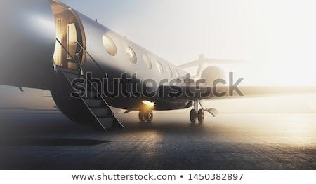 Foto stock: Ilustração · 3d · avião · pôr · do · sol · céu · voador · nuvens