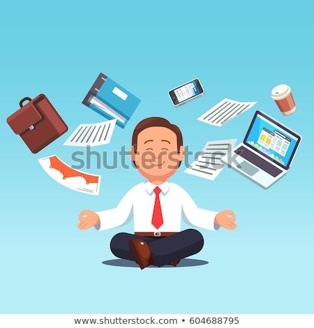 Işadamı meditasyon uçan kâğıt genç belgeler Stok fotoğraf © ra2studio
