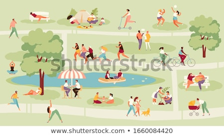 child playing with dog leisure vector illustration stock photo © robuart