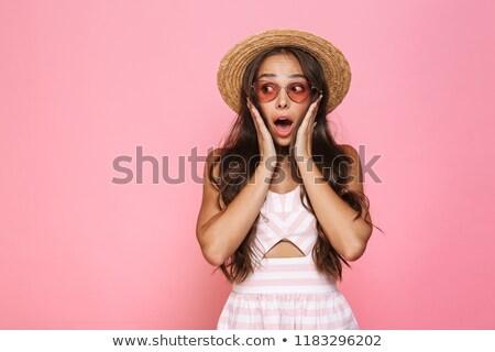 Fotó izgatott nő 20-as évek visel napszemüveg Stock fotó © deandrobot