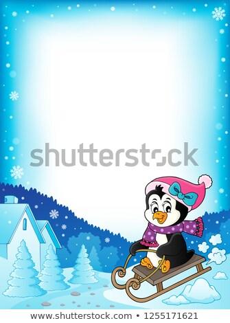 ペンギン フレーム ツリー 幸せ 芸術 ストックフォト © clairev