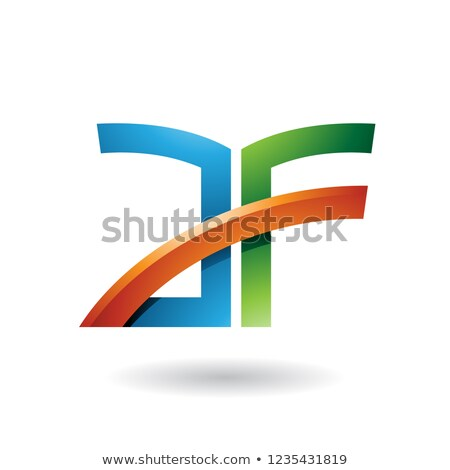 blue and orange dual letter icon of a and f vector illustration stock photo © cidepix