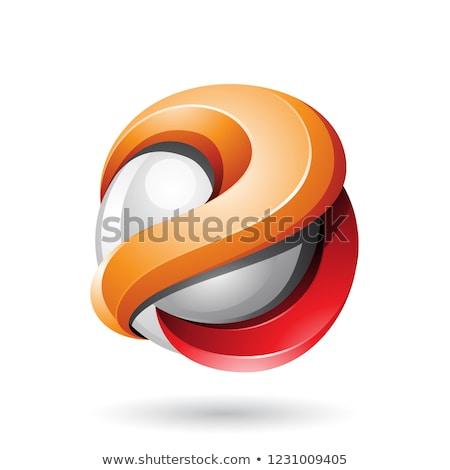 Narancs piros fémes fényes 3D gömb Stock fotó © cidepix