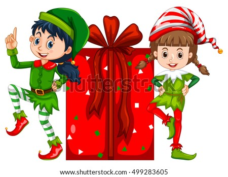 Two girls dressed in elf costume and red present box Stock photo © colematt