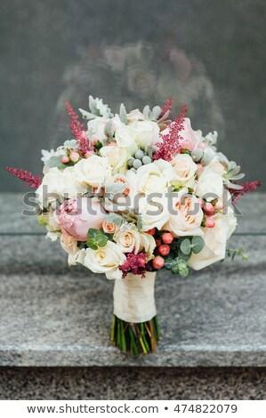 beautiful modern wedding bouquet on a stone slab Stock photo © ruslanshramko